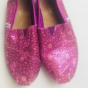 Toms glittered pink canvas shoes size 6
